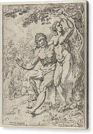 Adam And Eve Picking The Forbidden Fruit Acrylic Print by Dirck Volckertsz Coornhert