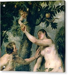 Adam And Eve Acrylic Print by Rubens