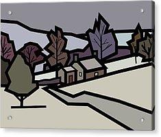 Adam's Farm In Winter Acrylic Print by Kenneth North