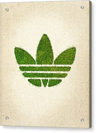 Adidas Grass Logo Acrylic Print by Aged Pixel