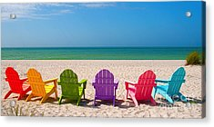 Adirondack Beach Chairs For A Summer Vacation In The Shell Sand  Acrylic Print by ELITE IMAGE photography By Chad McDermott