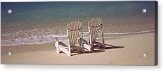 Adirondack Chair On The Beach, Bahamas Acrylic Print by Panoramic Images
