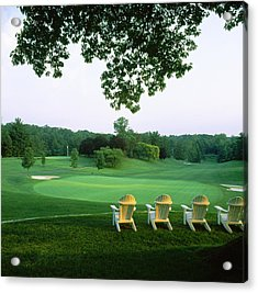 Adirondack Chairs In A Golf Course Acrylic Print by Panoramic Images