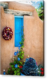 Adobe And Blue Acrylic Print by Bob and Nancy Kendrick