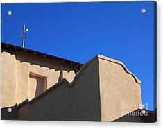 Adobe Church With Cross Acrylic Print by Pattie Calfy