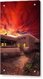 Adobe Sunset Acrylic Print by Ric Soulen