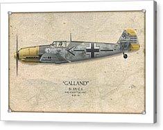 Adolf Galland Messerschmitt Bf-109 - Map Background Acrylic Print by Craig Tinder