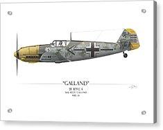 Adolf Galland Messerschmitt Bf-109 - White Background Acrylic Print by Craig Tinder
