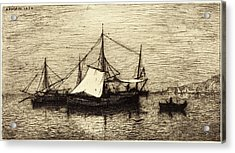 Adolphe Appian, French 1818-1898, Coasting Trade Vessels Acrylic Print by Litz Collection