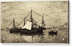 Adolphe Appian French, 1818 - 1898, Coasting Trade Vessels Acrylic Print by Quint Lox