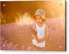 Adorable Cute Boy With A Hat In A Lavender Field Acrylic Print by Tatyana Tomsickova