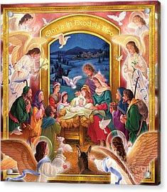 Adoring Angels Nativity Square Acrylic Print