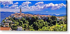 Adriatic Town Of Vrbnik Panoramic View Acrylic Print