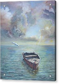 Acrylic Print featuring the painting Adrift by Katalin Luczay