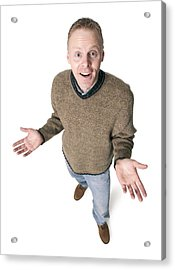 Adult Caucasian Man Dressed In Jeans And Green Sweater Gestures With His Hands Shrugs His Shoulders Acrylic Print by Photodisc