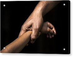 Adult Holding A Child's Wrist Acrylic Print by James Morgan