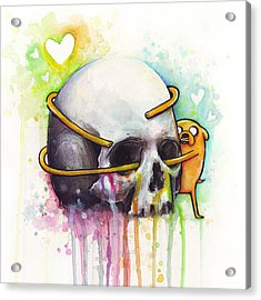Adventure Time Jake Hugging Skull Watercolor Art Acrylic Print by Olga Shvartsur