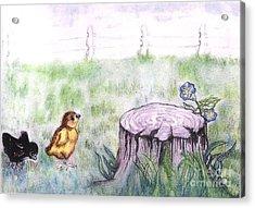 Adventurous Chicks Acrylic Print by Francine Heykoop