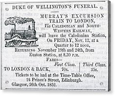 Advert For Wellington's Funeral Acrylic Print