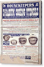 Advert For X-radium Cooking Pots Acrylic Print by Library Of Congress