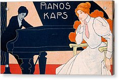 Advertisement For Kaps Pianos Acrylic Print by Hans Pfaff
