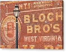 Advertisements On Side Of Building Acrylic Print by William Sutton