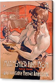 Advertisemet For Marmonier Fils Lyon Acrylic Print by Adolfo Hohenstein