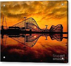 Adventure Pier At Sunrise Acrylic Print by Nick Zelinsky