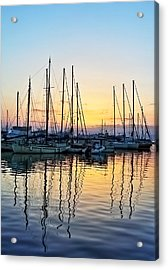 Aegina Harbour Sunset Acrylic Print