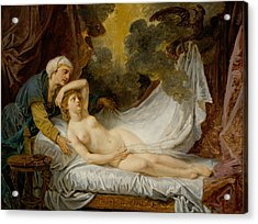 Aegina Visited By Jupiter Acrylic Print by Jean-Baptiste Greuze