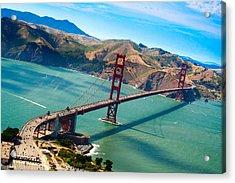 Aerial Golden Gate Bridge Over San Francisco Bay Acrylic Print by Laura Palmer