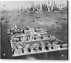 Aerial Of Ellis Island Acrylic Print