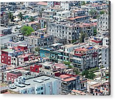 Aerial Perspective Of A Neighbourhood In Havana Cuba. Acrylic Print by Rob Huntley