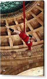 Aerial Ribbon Performer At Pennsylvanian Grand Rotunda Acrylic Print by Amy Cicconi