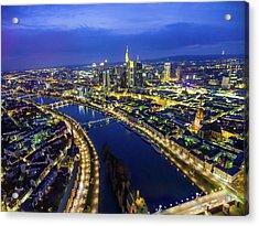 Aerial View. Germany, Frankfurt, River Acrylic Print by Malorny