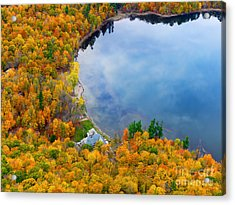 Aerial View Of A Canadian Lake In The Fall Season Acrylic Print
