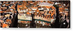 Aerial View Of A City, Bruges, West Acrylic Print