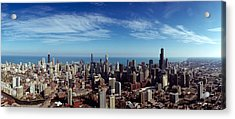 Aerial View Of A Cityscape With Lake Acrylic Print by Panoramic Images