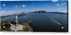 Aerial View Of A Statue, Statue Acrylic Print by Panoramic Images