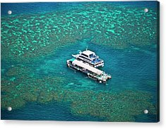 Aerial View Of A Tour Boat Docked Acrylic Print by Miva Stock