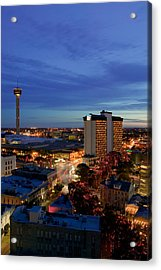 Aerial View Of Buildings Lit Acrylic Print by Panoramic Images
