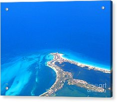 Acrylic Print featuring the photograph Aerial View Of Cancun by Patti Whitten