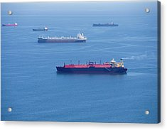 Aerial View Of Cargo Ships At Sea Acrylic Print