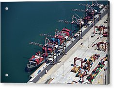 Aerial View Of Container Ship Moored At Acrylic Print