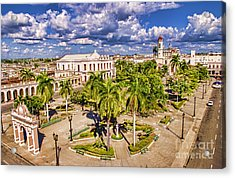 Aerial View Of Downtown Square Acrylic Print by Bill Bachmann