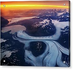 Aerial View Of Glacier Acrylic Print by Piriya Photography