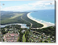 Aerial View Of Landscape By Sea Against Acrylic Print by Louis Allen / Eyeem