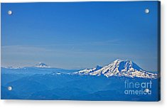 Aerial View Of Mount Rainier Volcano Art Prints Acrylic Print