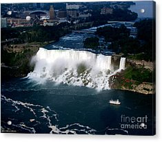 Acrylic Print featuring the photograph Aerial View Of Niagara Falls And River And Maid Of The Mist by Rose Santuci-Sofranko