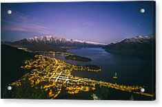 Aerial View Of Queenstown Cityscape At Night, New Zealand Acrylic Print by Lingxiao Xie